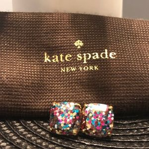 Kate Spade glitter earrings rainbow